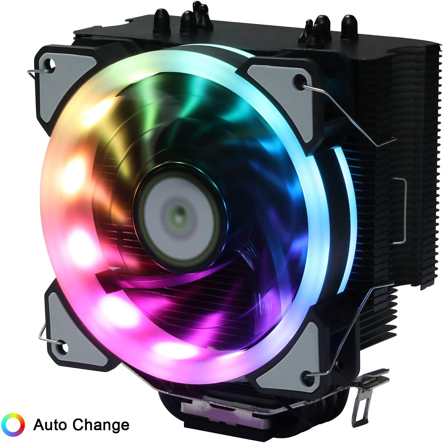 DS PWM Fan CPU Air Cooler LED Addressable RGB Fan for Computer Case Intel Core i7/i5/i3 (800-1800RPM, Auto Changer Color, C Series)