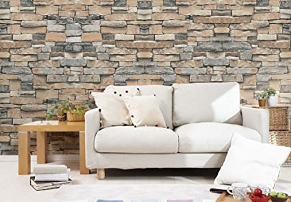 Frosted Heavy Duty Thick Brick Wallpaper 3D Modern Faux Stone Textured Non Self