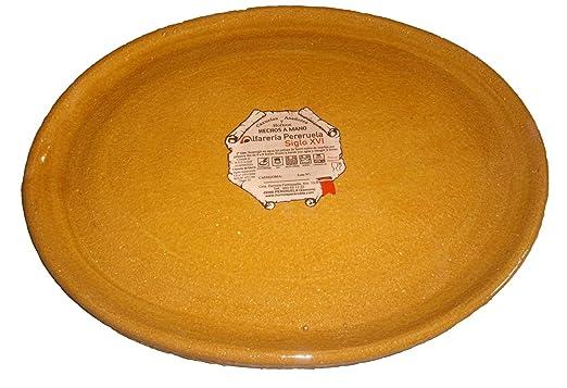 Alfarería Pereruela Siglo XVI Plato Ovalado de Barro refractario auténtico, Miel, 35 cm