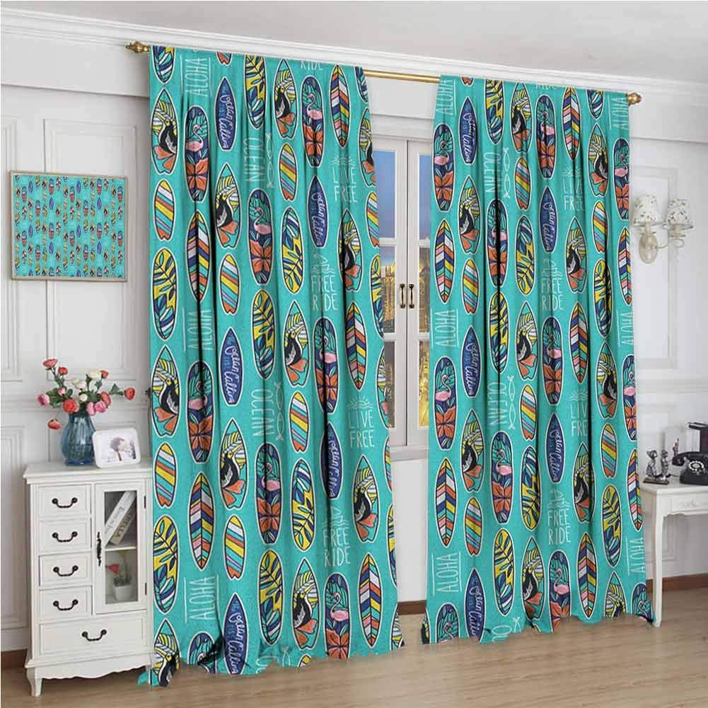 GUUVOR Surfboard Heat Insulation Curtain Aloha Hawaii Live Free Ocean Water Sports Inspired Pattern Coastal Inspirations for Living Room or Bedroom W96 x L84 Inch Multicolor by GUUVOR