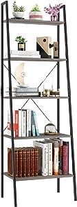 Homfa Industrial Ladder Shelf, 5 Tier Bookshelf Plant Flower Stand Storage Rack Multipurpose Utility Organizer Shelves Wood Look Accent Metal Frame Furniture Home Office - Vintage Gray