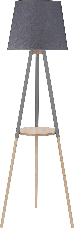 Stehlampe Grau Holz Stoffschirm Skandinavisches Design 148cm 3-beinig E27 Stativleuchte Stehleuchte Standleuchte