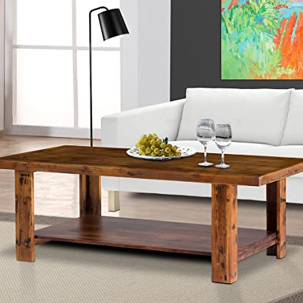 PrimaSleep Natural Vintage Solid Wood Coffee Table/ Brunch Table/ Side Table/  End Table