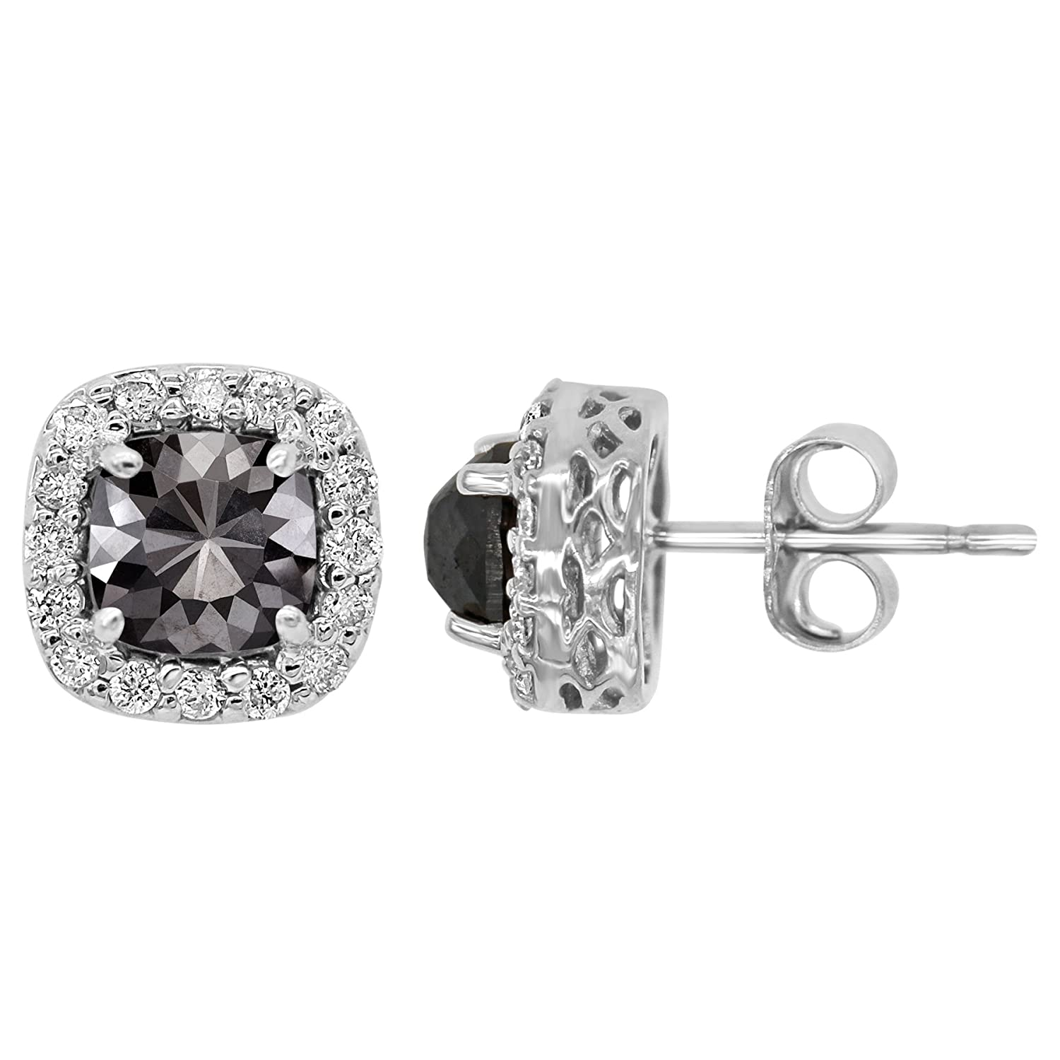 76dcb3f79 Amazon.com: 14k White Gold Black and White Diamond 1.75ct total Weight Stud  Earrings: Jewelry