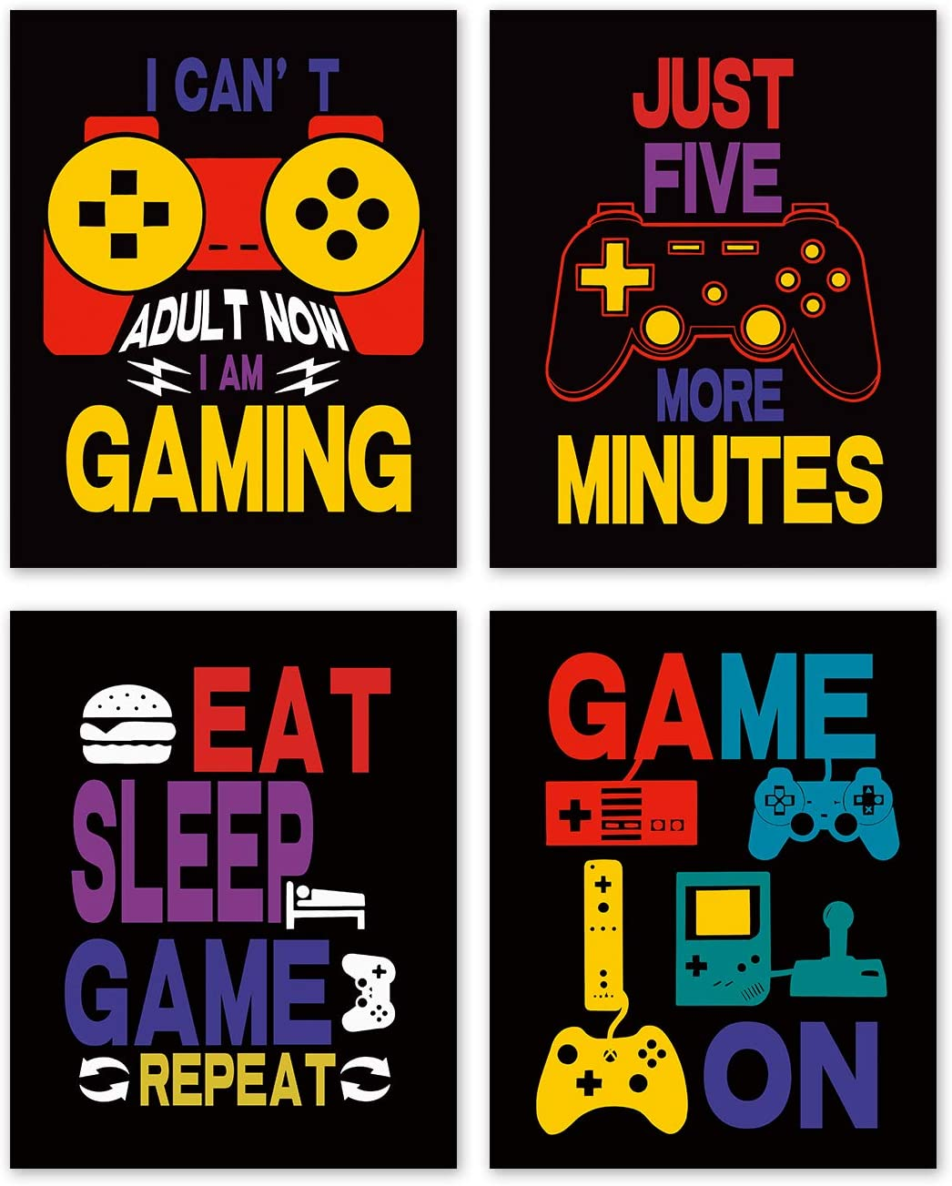 Video Game Quote Wall Art Print-- Playroom or Boy Bedroom Decor-- Funny Gamer Gaming Quote Canvas Print ( Set of 4 )--Unframed--8X10 inch