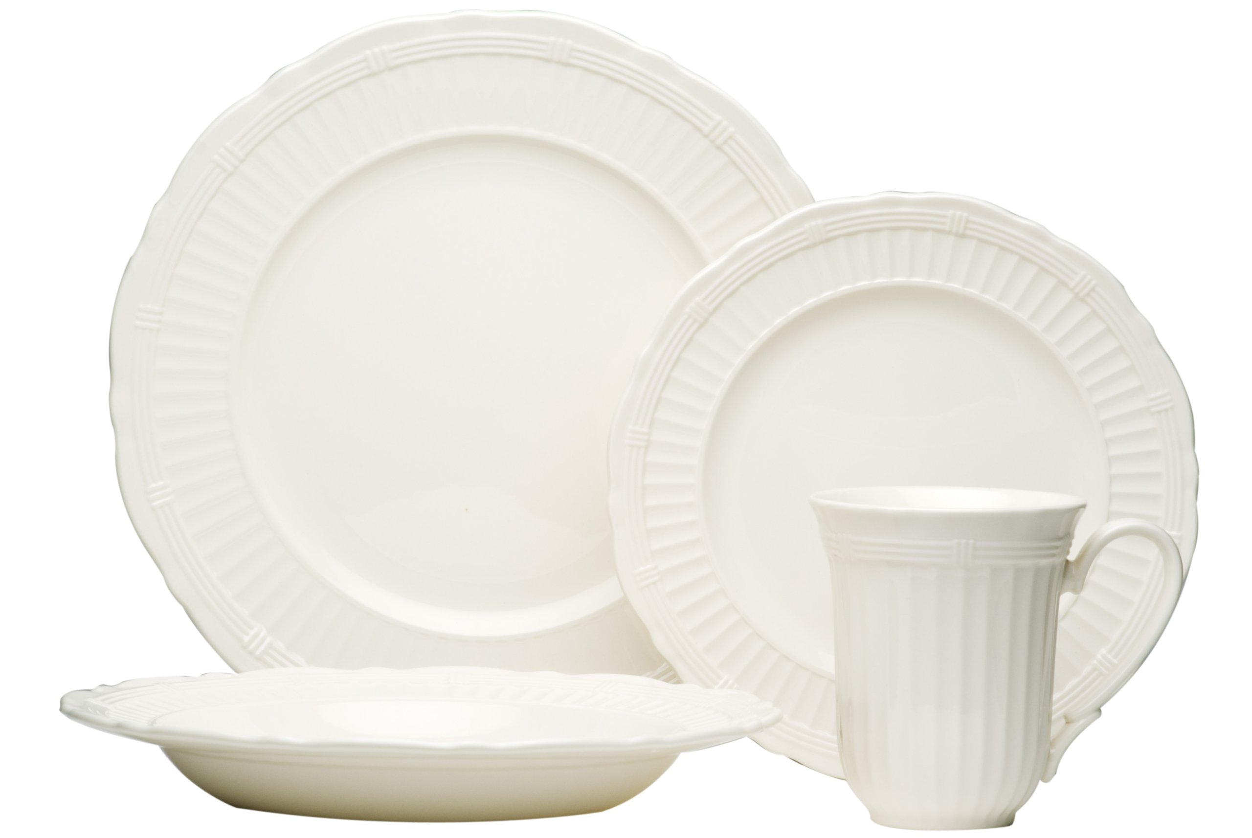 Red Vanilla Tuscan Villa 16-Piece Dinnerware Set - Four dinner plates: 11-inch in diameter, four salad plates: 8-1/2-inch in diameter, four soup bowls: 10-inch in diameter with a 10-ounce capacity. Four mugs: 14-ounce capacity Material: stoneware Color: white - kitchen-tabletop, kitchen-dining-room, dinnerware-sets - 71e3cKPb0uL -