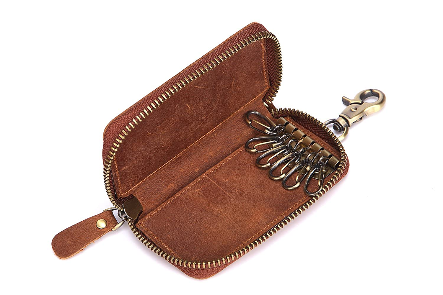 New hanging key bag crazy horse leather retro small card bag wallet