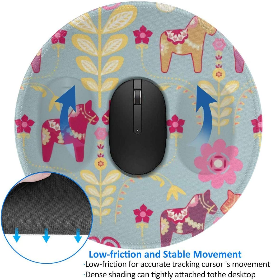 Non-Slip Rubber Base Dala Horse 1 PCS Mouse Mat for Gamer Mouse Pad Office /& Home Waterproof Keyboard Pad Mousepad with Premium-Textured Cloth