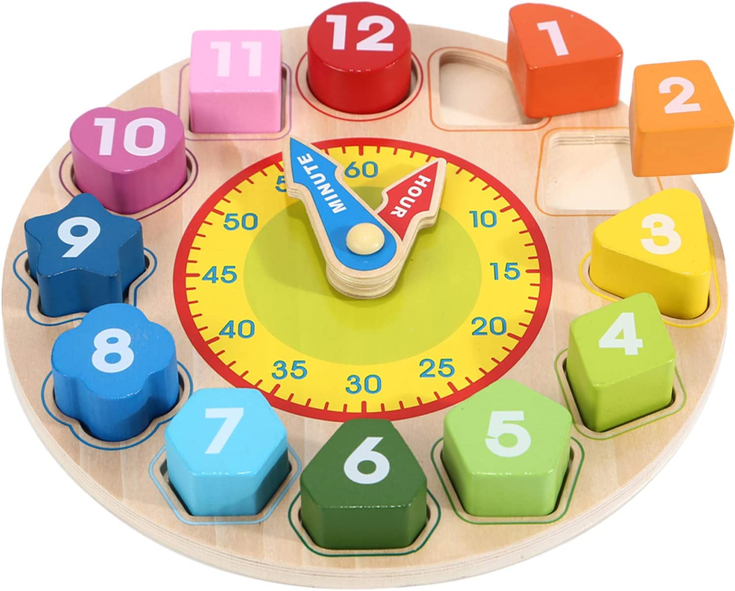 Wondertoys Todders Clock Toy Learning Time Number Puzzles Set Early Educational Game Great Gift for 3 Years Old Boys and Girls