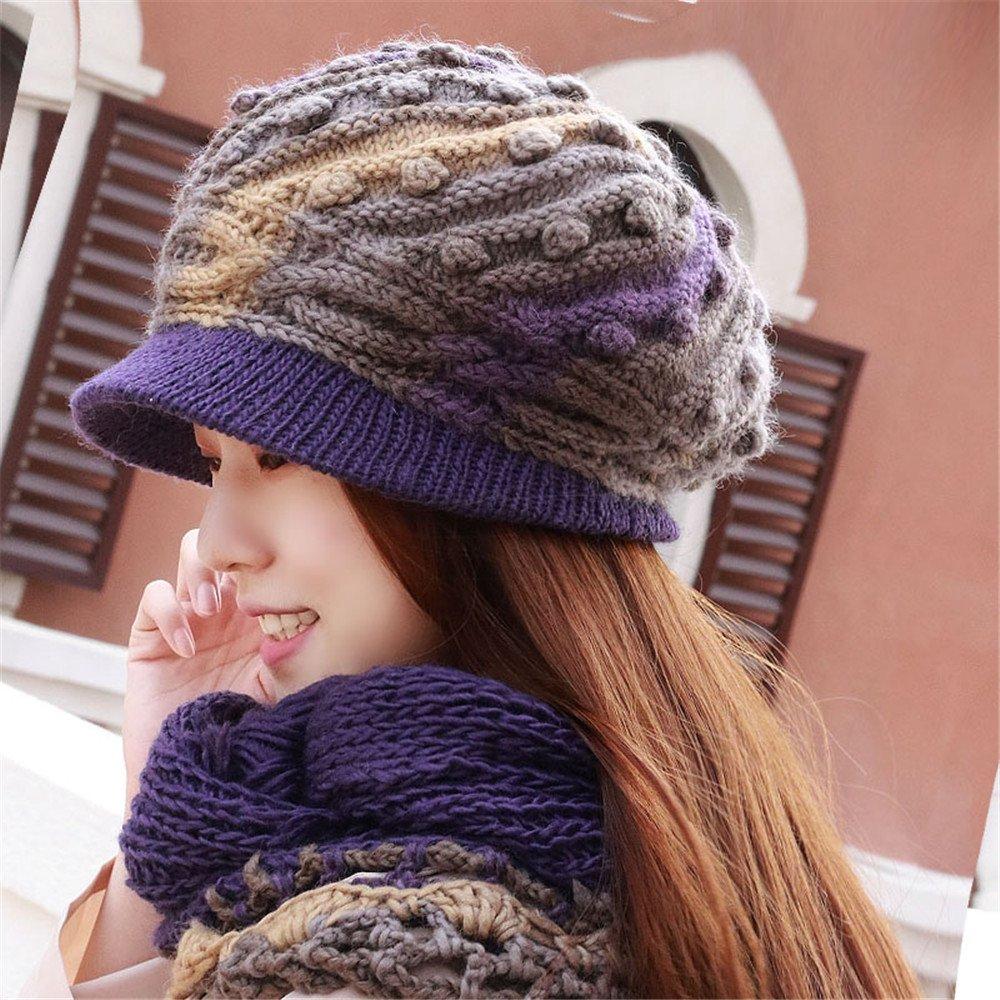 Una mujer Gorro de invierno y un sombrero de lana de tejer a mano la tapa madre otoño cálido ear hat...