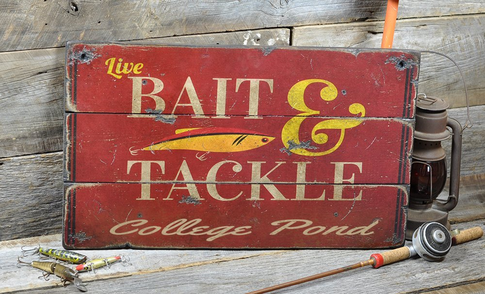 College Pond Massachusetts, Bait and Tackle Lake House Sign - Custom Lake Name Distressed Wooden Sign - 33 x 60 Inches