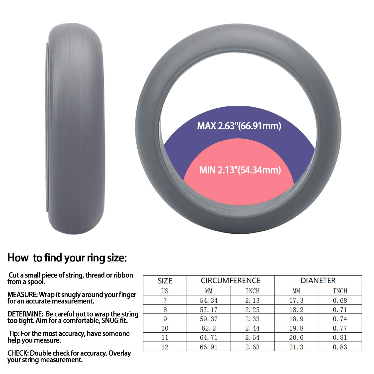 HouNa Silicone Wedding Ring Rubber Wedding Bands for Men & Women 4 Pack 9mm Wide Silver Black Grey Light Grey