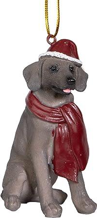 Amazon Com Design Toscano Christmas Xmas Weimaraner Holiday Dog Ornaments Full Color Home Kitchen