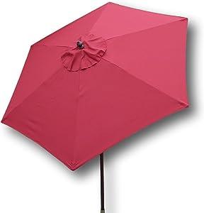 Formosa Covers 7.5 Foot Aluminum Market Umbrella, Crank & Tilt Mechanism, Strong Fiberglass Ribs, UV Treated, Perfect for Patio, Small Bistro, Deck - Color in Red