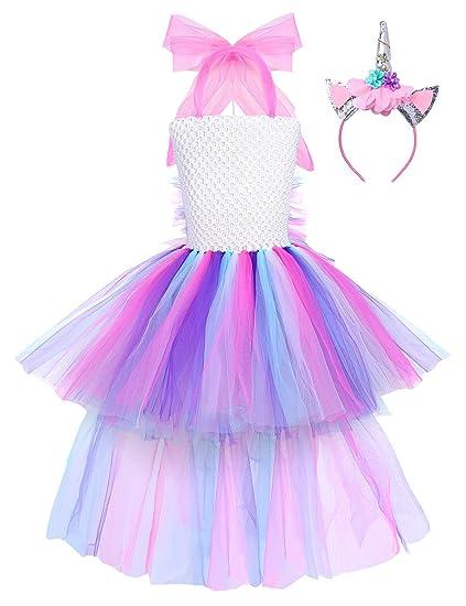 Freebily Disfraz Unicornio Niña Vestido Princesa Fiesta Niña ...
