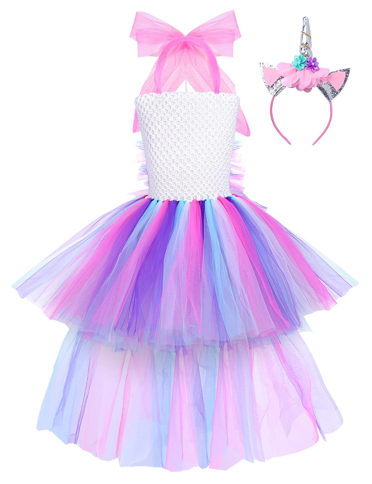 YiZYiF Girls Inspired Mythical Outfit Birthday Tutu Party Dress with Horn Hair Hoop Ballet Costumes Colorful with Train 5-6 by YiZYiF (Image #1)