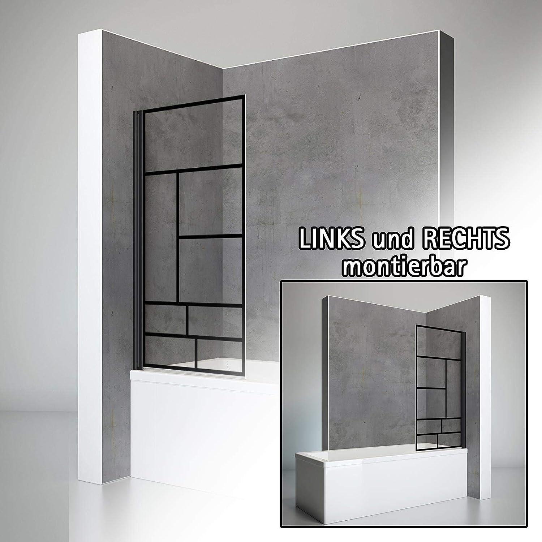 verre d/écor Atelier 70x130 cm 1 volet pliant paroi de baignoire rabattable Schulte pare baignoire pivotant /écran de baignoire noir