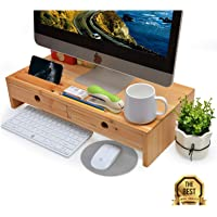 Wood Monitor Stand with Drawers - Computer Laptop Printer Riser, Desk Accessories & Workspace Organizers for Home&Office