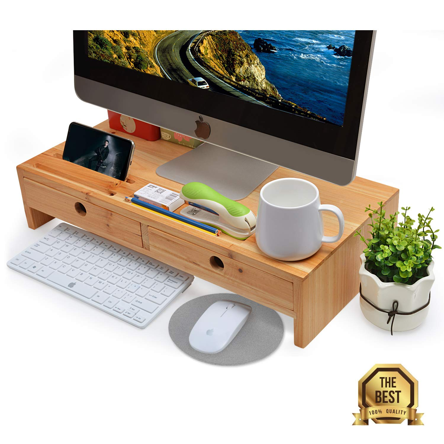 Computer Monitor Stand with Drawers - Wood TV Screen Printer Riser 22 05L  10 60W 4 70H inch, Desk Organizer in Home&Office