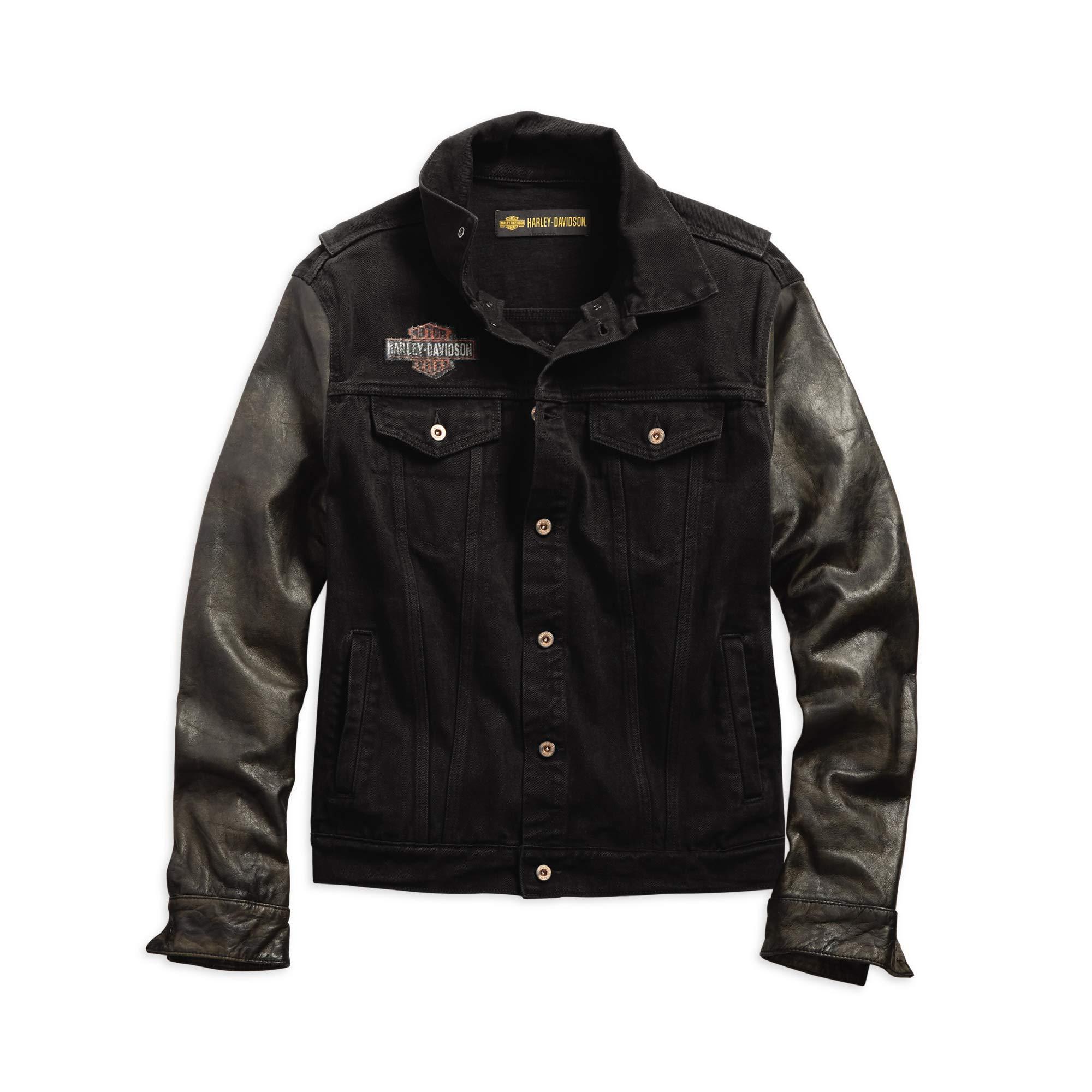 HARLEY-DAVIDSON Men's Leather Sleeve Slim Fit Denim Jacket, Black by HARLEY-DAVIDSON