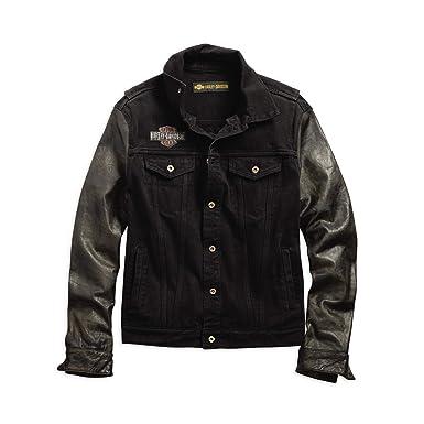 cc44a2654 Harley-Davidson Official Men's Leather Sleeve Slim Fit Denim Jacket, Black