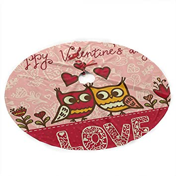 Amazon Com Dgf77kk Christmas Tree Skirt Valentines Day Owls In Love
