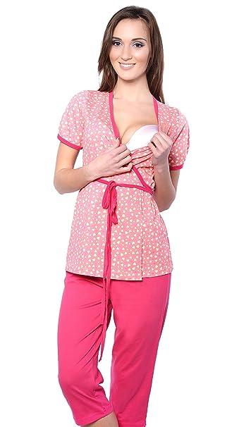 2 en 1 Conjunto Pijama de 2 piezas maternidad & alimentación 100% de algodón 5001