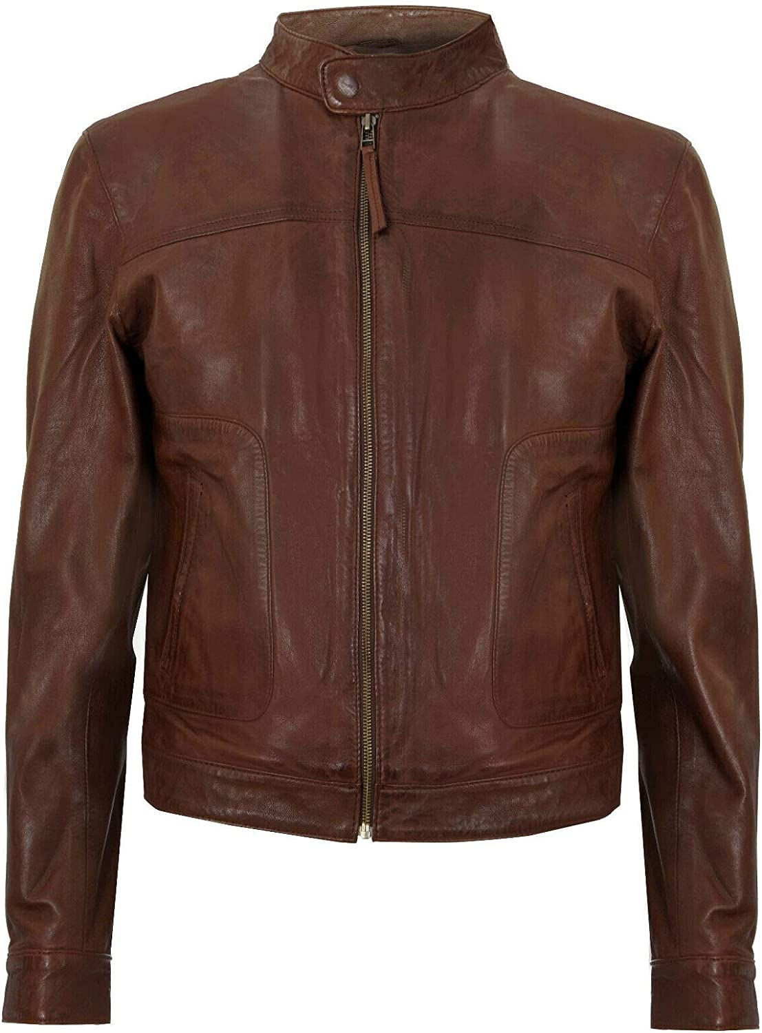 Mens Fitted Brown Real Soft Genuine Leather Classic Collar Harrington Jacket