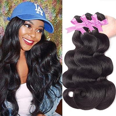 "10A Brazilian Body Wave 3 Bundles 100% Unprocessed Brazilian Virgin Human Hair Weft with Top Quality Brazilian Hair Natural Color (16 18 20"")"