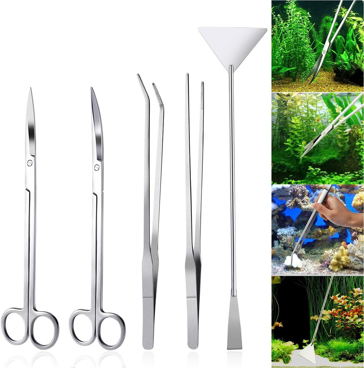 UEETEK Aquarium Aquascaping Kit 5 en 1 acero inoxidable acuario tanque planta acuática herramientas conjuntos pinzas tijera espátula