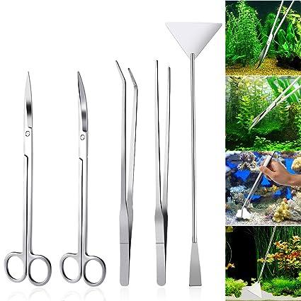 dad2625bb Amazon.com : UEETEK Aquarium Tools Kit 5 in 1 Stainless Steel Fish Tank  Aquatic Plant Tweezers Scissor Spatula Sets : Pet Supplies
