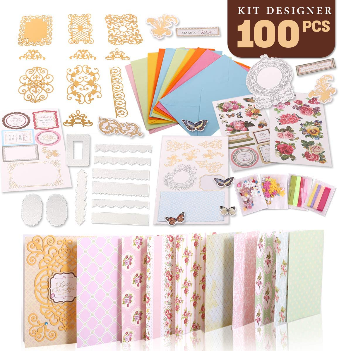 Quality Real Flower Card Making Kit /& Embellishments