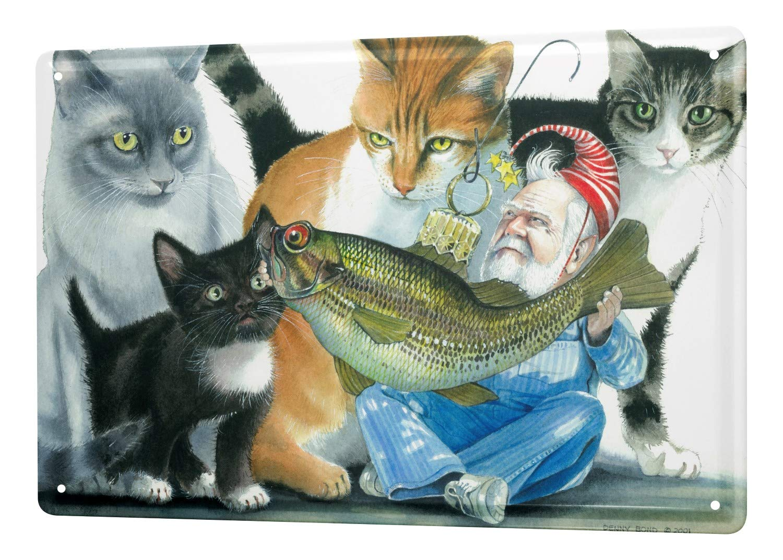 Cartel Letrero de Chapa XXL Práctica Veterinaria gato Leprechaun peces: Amazon.es: Hogar