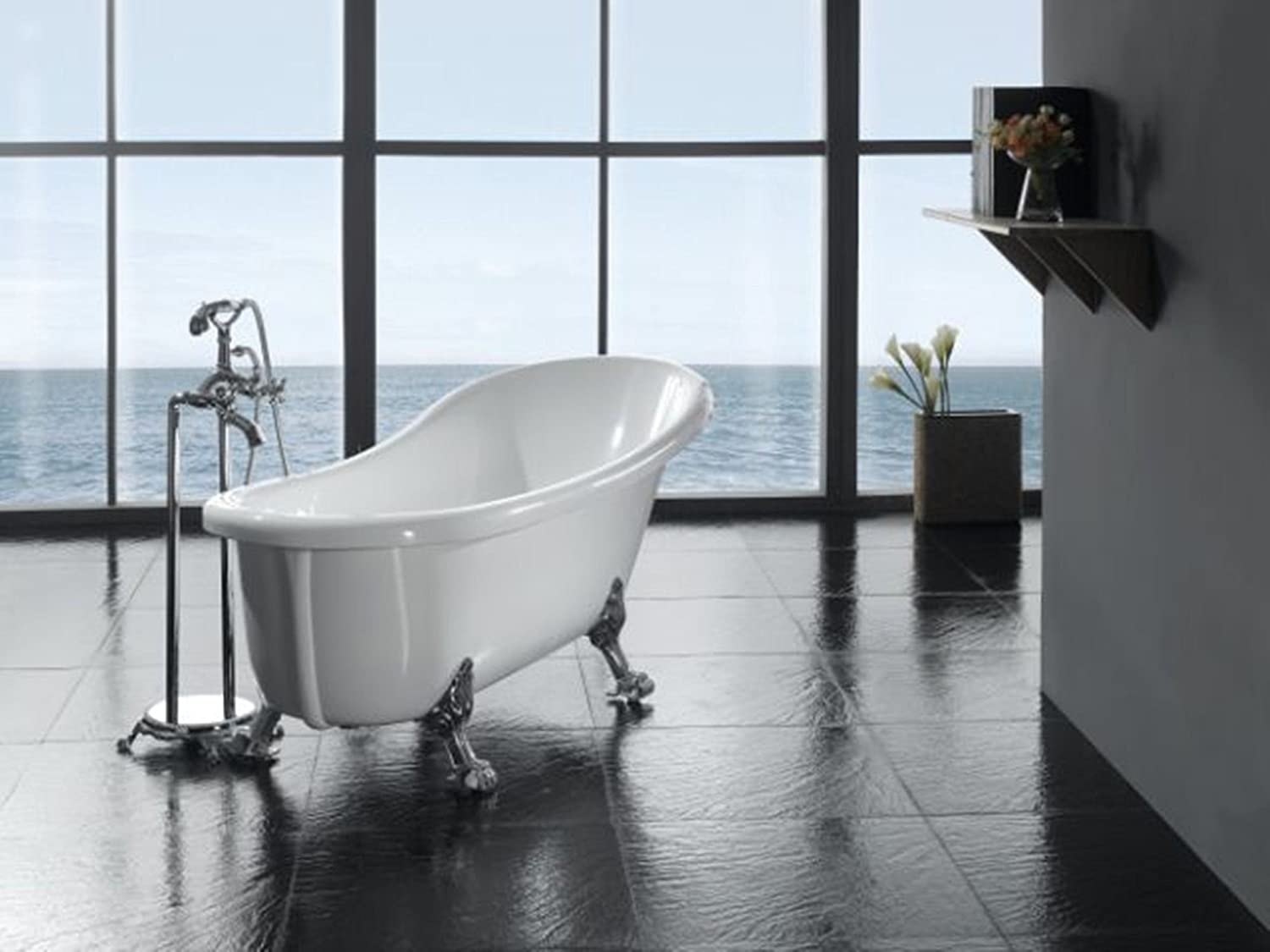 Ove Decors Clawfoot 66-Inch Freestanding Acrylic Bathtub with ...