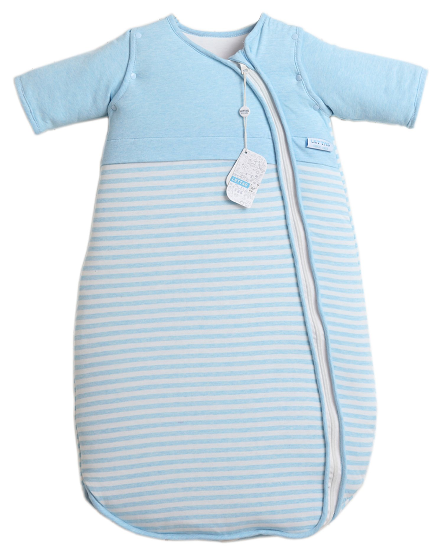 LETTAS Unisex Baby Cotton Removable Long Sleeve Zip up Sleeping Bag Thicken Autumn Winter Blue (12-24 Months,M)