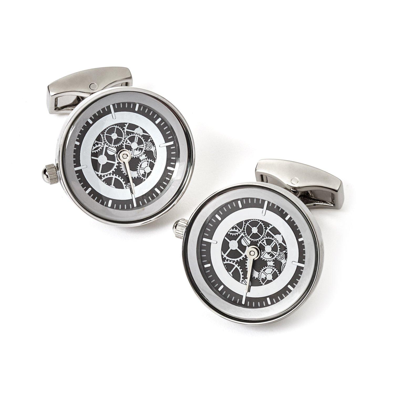 Tateossian Vintage Gear Watch Cufflink-RT, Rhodium Silver and Gunmetal
