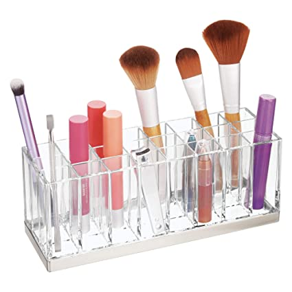 54837567647a mDesign Plastic Cosmetic Organizer Storage Center with 24 Sections for  Bathroom Countertops, Vanity - Hold Makeup Brushes, Lipstick, Lip Gloss, ...