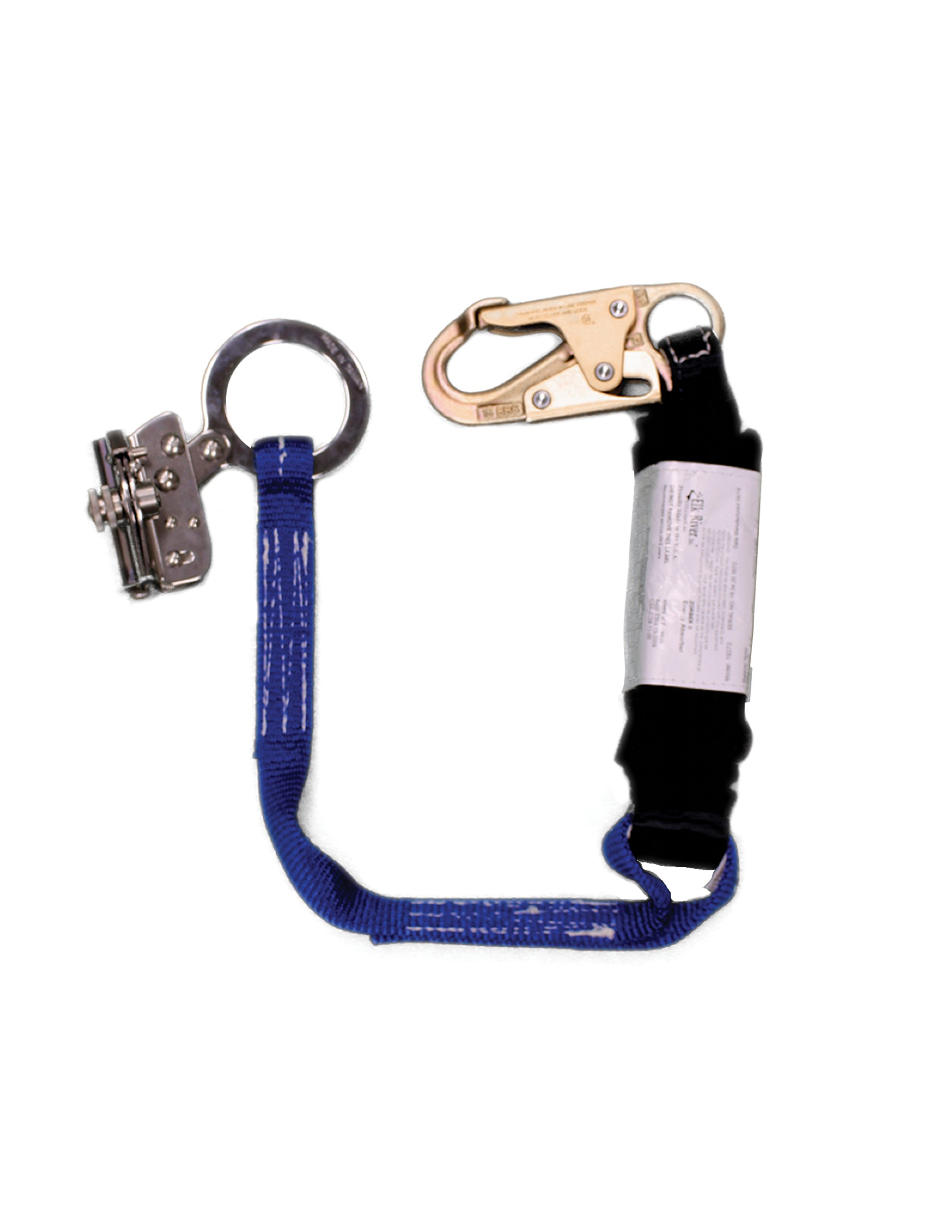 Elk River 19273 Rope Grab with Attached Web 1'' x 3' Zorber Lanyard and CenturionZ Snaphook, 3600 lbs Gate, 5/8'' Size