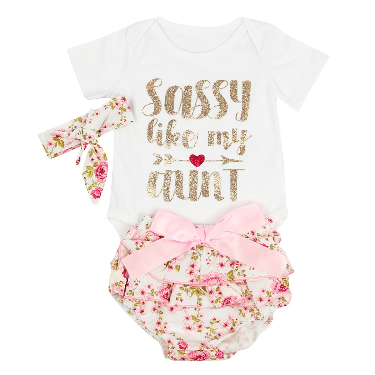 puseky 0-24M Infant Baby Girls Letters Romper+Floral Shorts+Headband Clothes Set (6-12 Months, White+Floral)