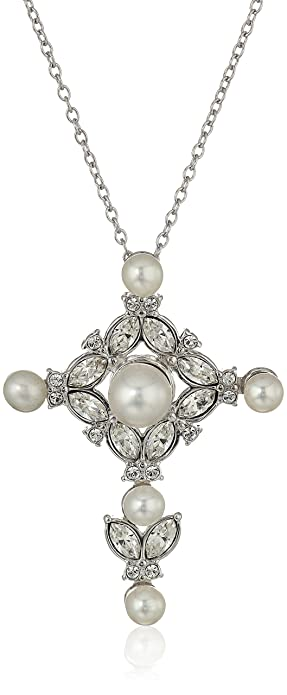 Amazon sterling silver freshwater cultured pearl and white sterling silver freshwater cultured pearl and white swarovski crystal cross pendant necklace 18quot aloadofball Choice Image