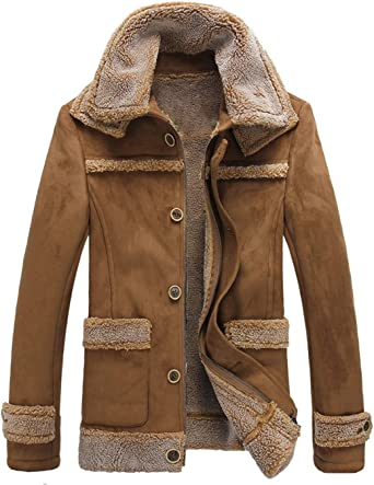 Chartou Mens Winter Spread Collar Sherpa Lined Suede Leather Trucker Jacket Coats