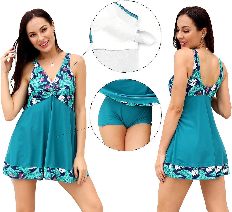 SHEKINI Damen Einteilige Schwimmanzug Schwimmrock Rock R/üschen Retro Badeanzug Baderock Bottom Slip Polsterung Bikini Tankini