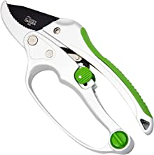 """Cate's Garden Ratchet Pruning Shears 8"""" Easy Action Anvil-Type Pruners Designed for Effortless Trimming of Hedges and Tree Limbs - Heavy Duty SK5 High Carbon Blades for Long-Lasting Durability"""