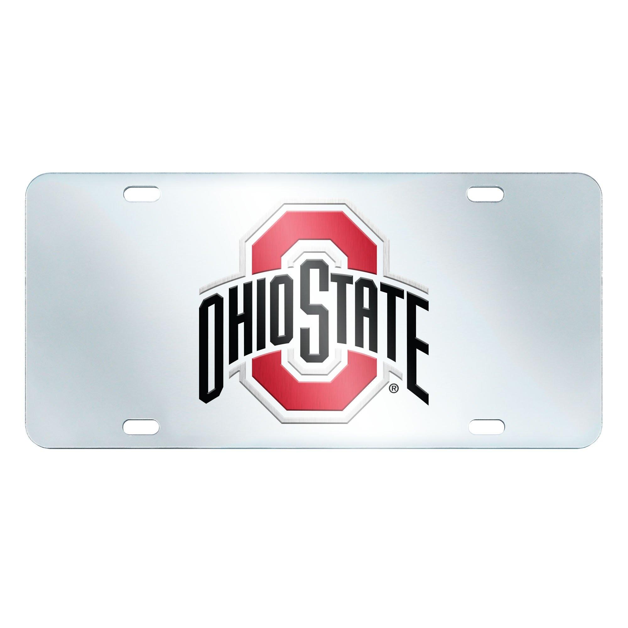 FANMATS NCAA Ohio State University Buckeyes Plastic License Plate (Inlaid)