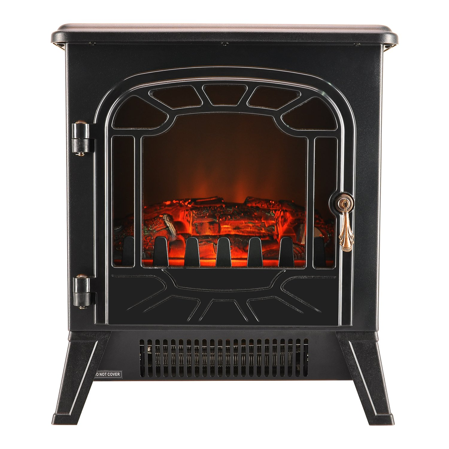 Electric Fireplace, BPS Freestanding Indoor Heating Stove Electric Fireplace with Vivid Log Burning Flame Effect and Adjust Thermostat - 1850W