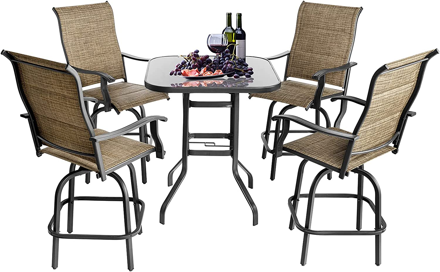 Sonegra Patio Bar Swivel Stools with High Back and Armrest, 4 Textilene 360° Swivel Chairs with Glassed Top Table, 5 Pieces Outdoor Furniture Set, Brown…