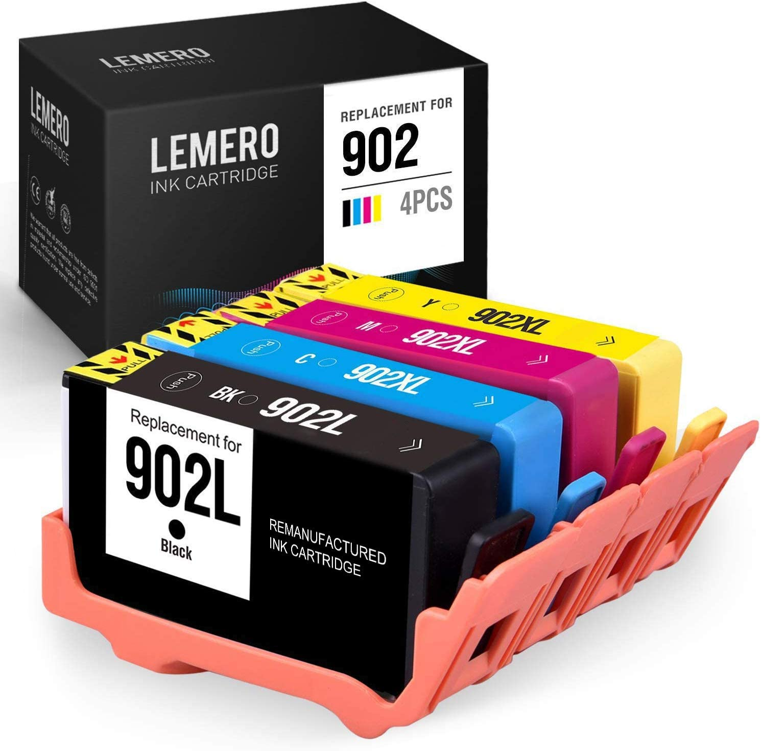 LEMERO Remanufactured Ink Cartridges Replacement for HP 902 902XL 902 XL - for Officejet Pro 6978 6962 6968 6958 6970 6975 6960 6950 6954 (Black Cyan Magenta Yellow, 4 Pack)