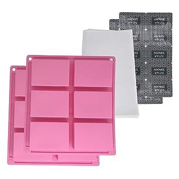 Gechtas 12 Cavities - Molde de silicona rectangular para jabón ...