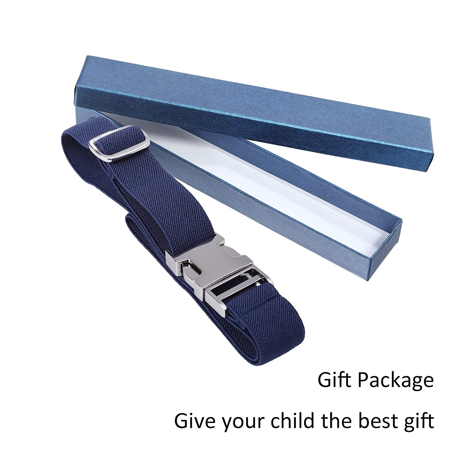 White Kids Toddler Belt Elastic Adjustable Stretch for Boys Girls Belts with Easy Zinc Alloy Buckle by WELROG