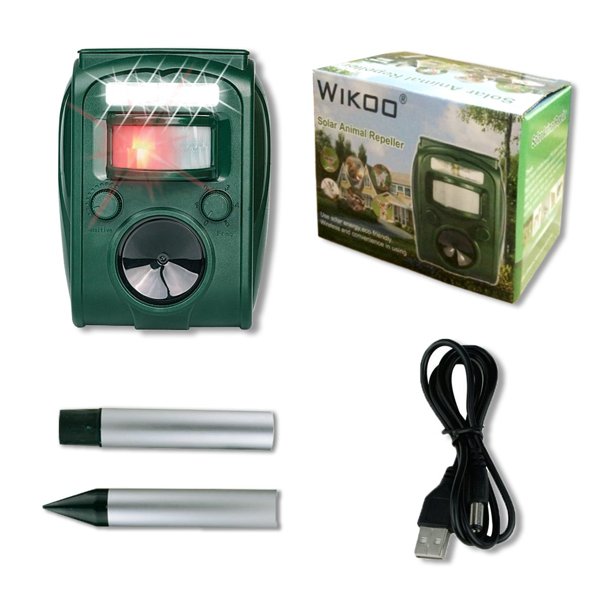Ultrasonic Pest Repeller Wikoo Solar Powered Waterproof Outdoor Animal Scarer With Sound And Flashing Light Activated By Motion Very